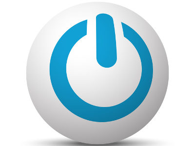 Blue Power icon on sphere on white background